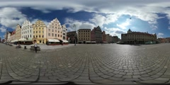 360Vr Video Man Sits Down to the Bench Old Square Wroclaw Sunny Day Vintage Stock Footage