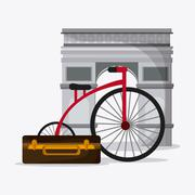 France design. arch of trumph and bike. vector graphic - stock illustration
