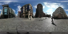 360Vr Video Man on City Square High Temperature Festival in Wroclaw Taxi Driven Stock Footage