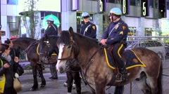 Mounted police on duty at Times Square. NYC, USA. Stock Footage