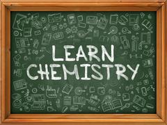 Hand Drawn Learn Chemistry on Green Chalkboard Stock Illustration