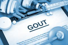GOUT Diagnosis. Medical Concept. Composition of Medicaments - stock illustration