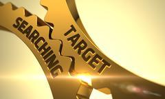 Target Searching Concept. Golden Metallic Cog Gears - stock illustration