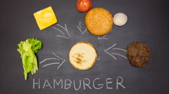 Building a Burger. Stop motion animation Stock Footage