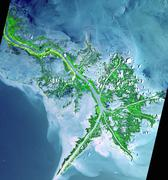 Active delta front of the Mississippi. This image was acquired on May 24, 2001 - stock photo