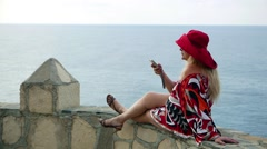 Romantic Fashionable caucasian lady female make selfie, holiday vacation  Stock Footage