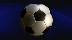 Soccer ball rotating on animated background Stock Footage
