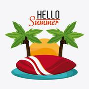 Summer design. Vacation icon. Colorful illustration - stock illustration