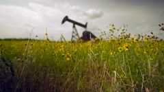 Abandoned Oil Well Low in Flowes Rack Focus Stock Footage