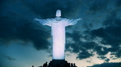 Night shot of christ the redeemer statue in rio Stock Footage