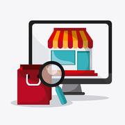 Searching online design. digital marketing. colorful illustratio - stock illustration