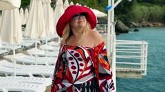 Romantic Fashionable cute european happy lady woman , desires and dreams Stock Footage