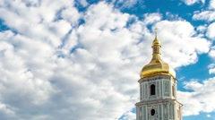 Dome of the Church of St. Sophia of Kyiv. Ukraine. Historic District. Time lapse Stock Footage