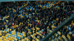Pleased fans watching football match, chanting slogans, waving hands in support - stock footage