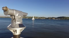 Tourist Telescope river tejo view with yacht in lisbon Stock Footage