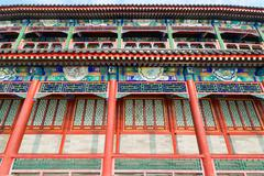 Long corridor of a pagoda on the Jade Island in Beihai Park of Beijing Stock Photos