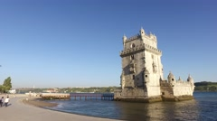 Belem Tower in Lisbon Portugal steady cam gimbal 4k Stock Footage