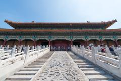 Back of the gate of Supreme Harmony in the Forbidden City of Beijing Stock Photos