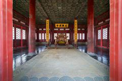 Looking into the Hall of Harmony of the Forbidden City in Beijing Stock Photos