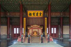 In the Hall of Harmony preservation of the Forbidden City in Beijing - stock photo