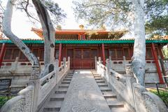 Rise to a Pavilion in the Imperial Garden in the Forbidden City of Beijing - stock photo