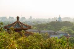 View from the pagoda in Jiang Park of Beijing with the White Pagoda in the - stock photo