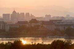Overlooking the Beihai Lake in Beijing in the evenings Stock Photos