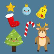 Kawaii icon set. Merry Christmas design. vector graphic - stock illustration