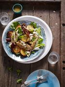 BBQ chicken, peach and cos lettuce salad Stock Photos