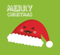 Kawaii hat icon. Merry Christmas design. vector graphic Stock Illustration