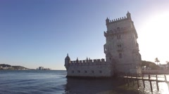 Belem Tower in Lisbon Portugal steady cam gimbal 4k - stock footage