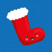 Kawaii boot  icon. Merry Christmas design. vector graphic - stock illustration