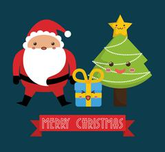 Kawaii santa and pine tree icon. Merry Christmas design. vector Stock Illustration