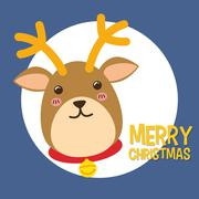 Kawaii deer icon. Merry Christmas design. vector graphic Stock Illustration