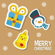 Kawaii icon set. Merry Christmas design. vector graphic Stock Illustration