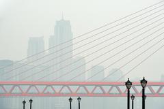 Closeup view of Dongshuimen bridge in Chongqing - stock photo