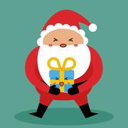 Kawaii santa and gift  icon. Merry Christmas design. vector grap - stock illustration
