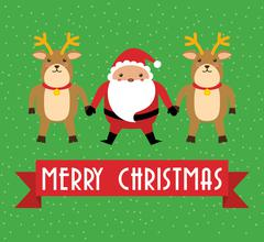 Kawaii santa and deer. Merry Christmas design. vector graphic Stock Illustration
