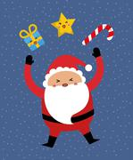 Kawaii santa and gift  icon. Merry Christmas design. vector grap Stock Illustration