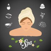 Woman cartoon. Spa center design. Vector graphic - stock illustration