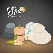Candle and decoration. Spa center design. Vector graphic Stock Illustration