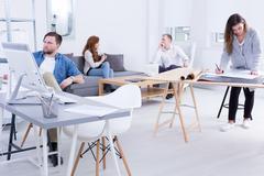 Modern workplace organization - stock photo