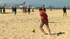 free kick in a beach soccer game on copacabana beach in rio - stock footage