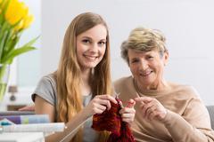 Finding common interests between generations - stock photo