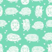Seamless pattern with decorative hedgehogs. Cute kids background Stock Illustration