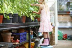 Girl standing on stool to water the plants in greenhouse Stock Photos