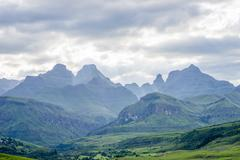 Color photograph of Cathedral Peak in the Drakensberg, KwaZulu-Natal - stock photo