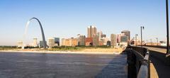 St Louis Missouri Downtown City Skyline Arch Gateway West Stock Photos