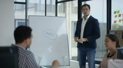 4K Business team in training or brainstorming session with whiteboard in office Stock Footage