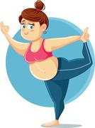 Cute Overweight Girl in Yoga Pose Vector Cartoon - stock illustration